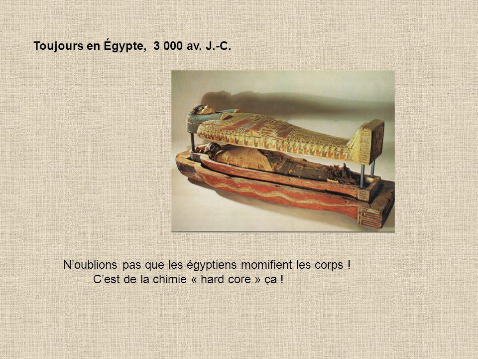 Toujours en Égypte, 2 000 av.J.-C. Invention du papyrus : la chimie des pâtes et papier est née .