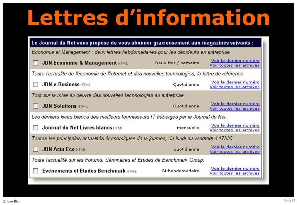 Page 15 © Jean Elias Lettres d ' information