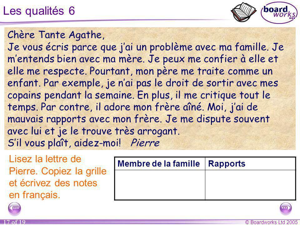 © Boardworks Ltd 2005 17 of 19 Les qualités 6 Membre de la familleRapports Lisez la lettre de Pierre. Copiez la grille et écrivez des notes en françai