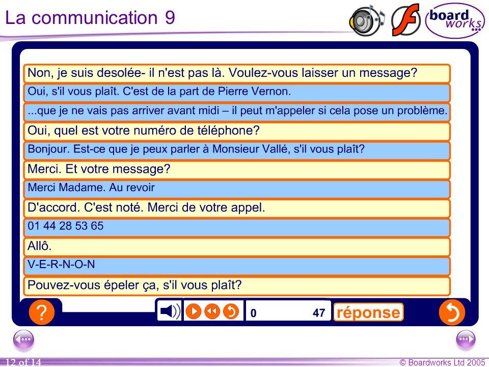 © Boardworks Ltd 2005 12 of 14 La communication 9