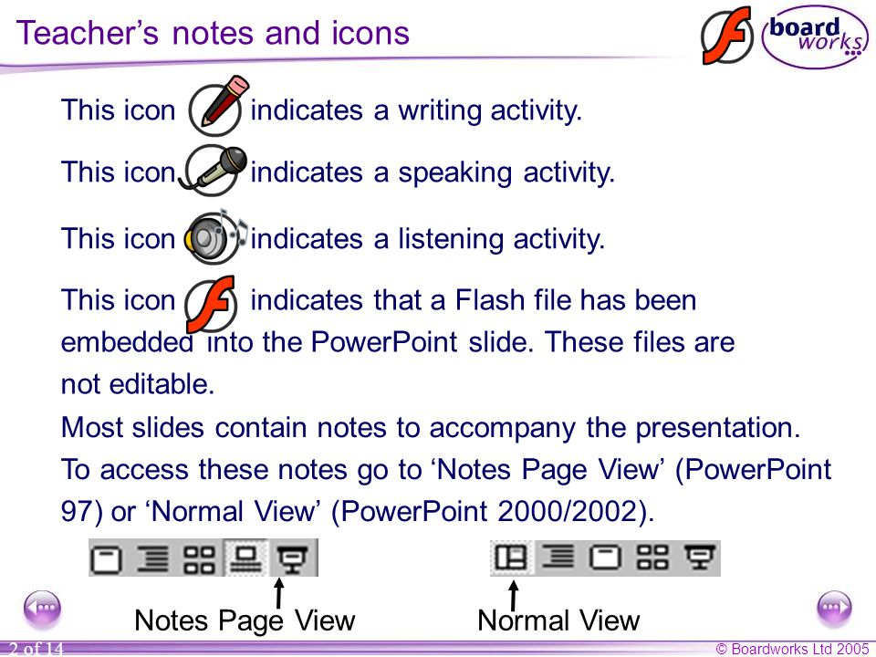© Boardworks Ltd 2005 2 of 14 Most slides contain notes to accompany the presentation.