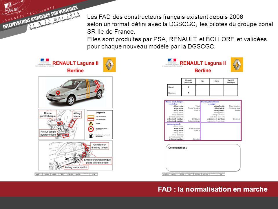 FAD : la normalisation en marche Les FAD des constructeurs français existent depuis 2006 selon un format défini avec la DGSCGC, les pilotes du groupe