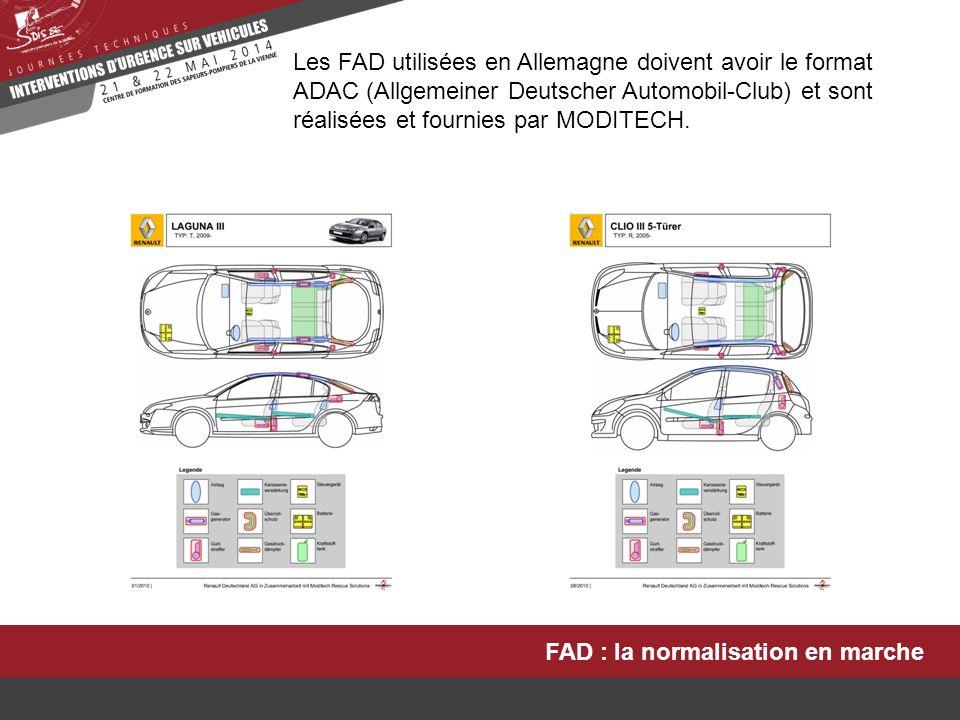 FAD : la normalisation en marche Les FAD utilisées en Allemagne doivent avoir le format ADAC (Allgemeiner Deutscher Automobil-Club) et sont réalisées