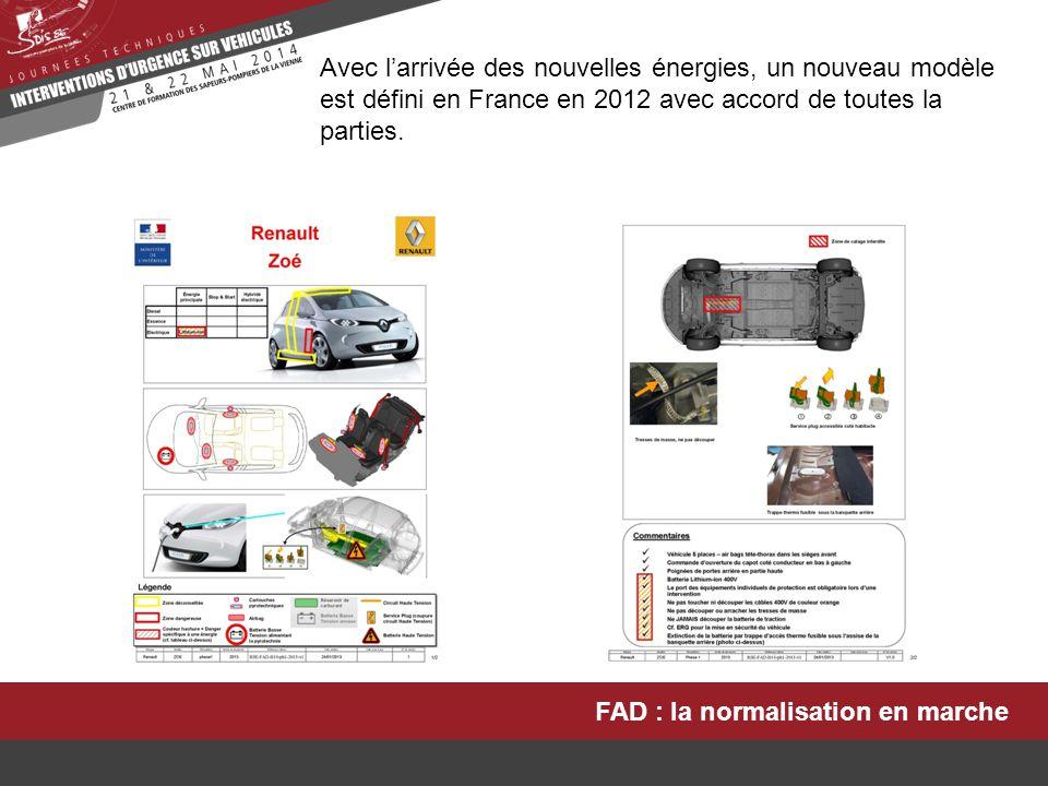FAD : la normalisation en marche En 2012, les constructeurs français et la DGSCGC proposent aux autres constructeurs de réfléchir à une normalisation ISO pour n'avoir qu'un seul modèle de FAD.