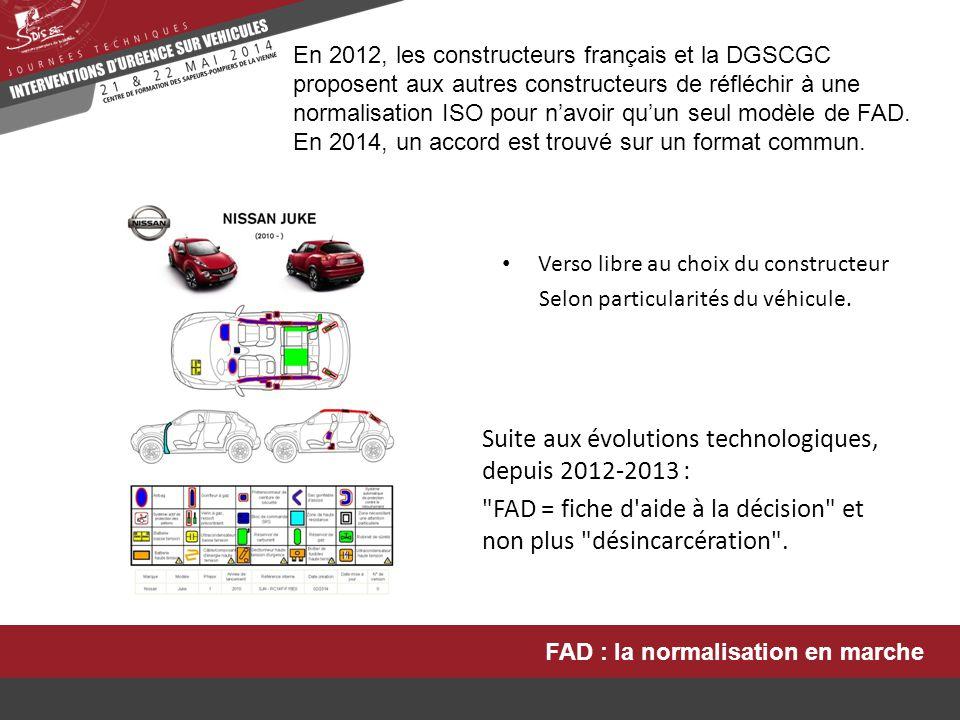 FAD : la normalisation en marche En 2012, les constructeurs français et la DGSCGC proposent aux autres constructeurs de réfléchir à une normalisation