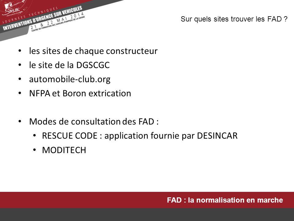 les sites de chaque constructeur le site de la DGSCGC automobile-club.org NFPA et Boron extrication Modes de consultation des FAD : RESCUE CODE : appl