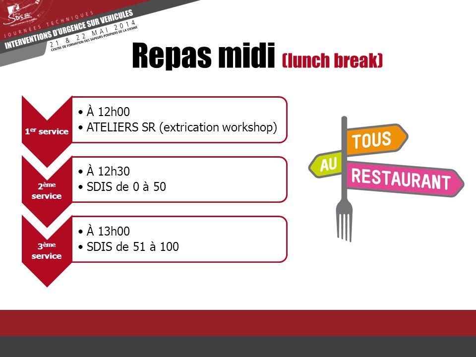 Repas midi (lunch break) 1 er service À 12h00 ATELIERS SR (extrication workshop) 2 ème service À 12h30 SDIS de 0 à 50 3 ème service À 13h00 SDIS de 51