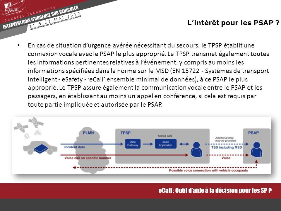 En cas de situation d'urgence avérée nécessitant du secours, le TPSP établit une connexion vocale avec le PSAP le plus approprié.