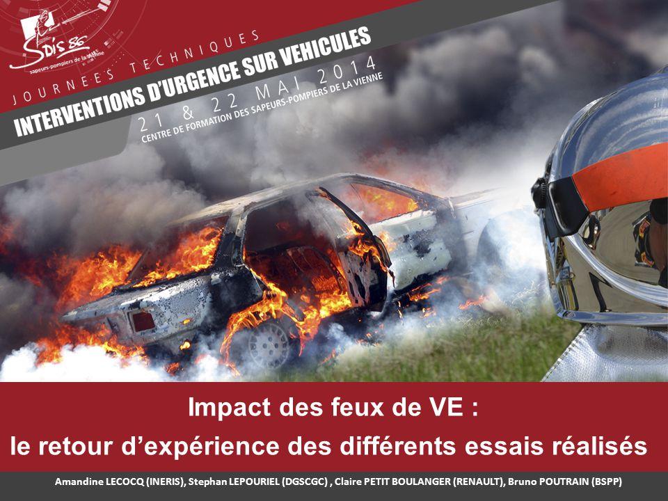 Impact des feux de VE : le retour d'expérience des différents essais réalisés Amandine LECOCQ (INERIS), Stephan LEPOURIEL (DGSCGC), Claire PETIT BOULA