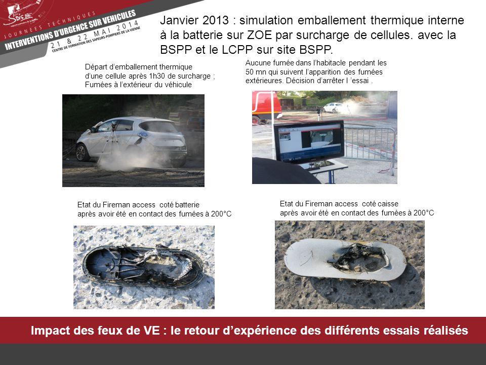 Impact des feux de VE : le retour d'expérience des différents essais réalisés Janvier 2013 : simulation emballement thermique interne à la batterie su