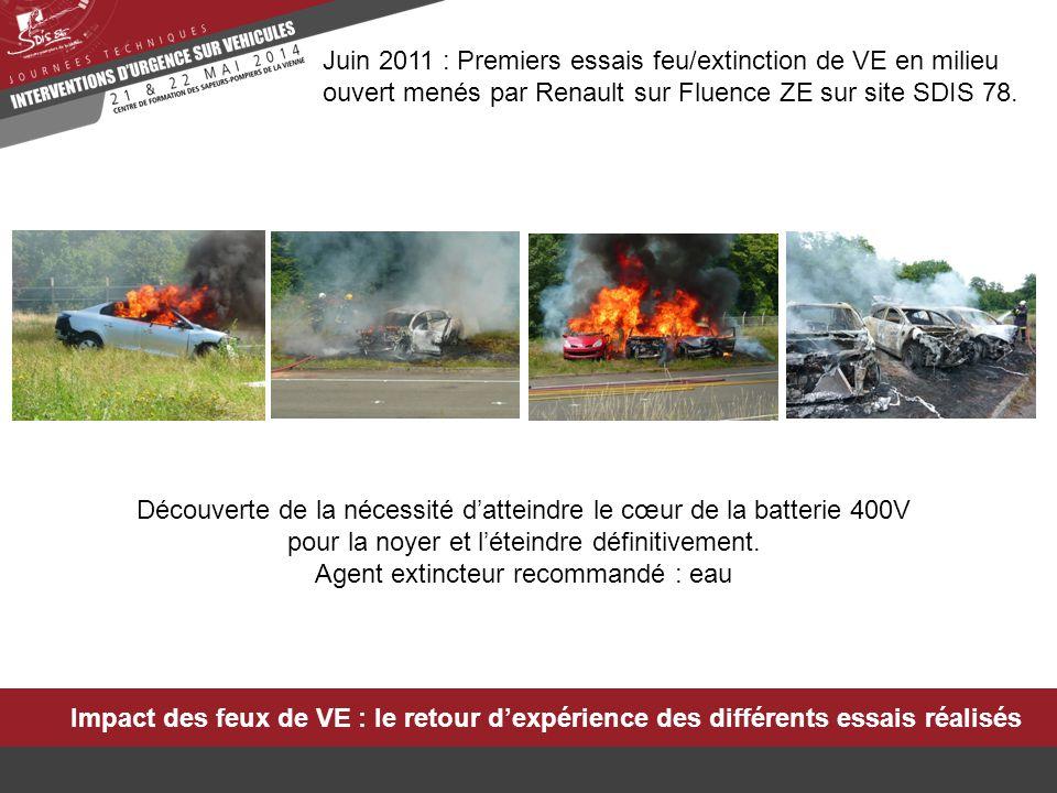 Impact des feux de VE : le retour d'expérience des différents essais réalisés Janvier 2012 : Essais feu/extinction des autres VE de la gamme Renault en milieu ouvert, menés avec la BSPP et le LCPP sur site BSPP.