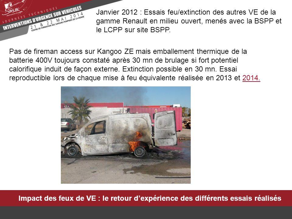 Impact des feux de VE : le retour d'expérience des différents essais réalisés Janvier 2012 : Essais feu/extinction des autres VE de la gamme Renault e