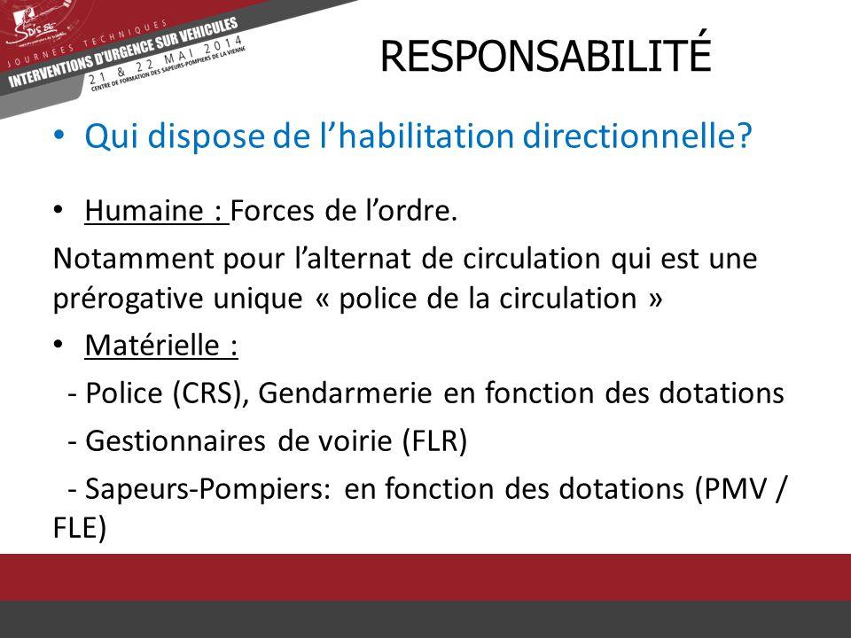 Qui dispose de l'habilitation directionnelle? RRESPONSABILITÉ Humaine : Forces de l'ordre. Notamment pour l'alternat de circulation qui est une prérog