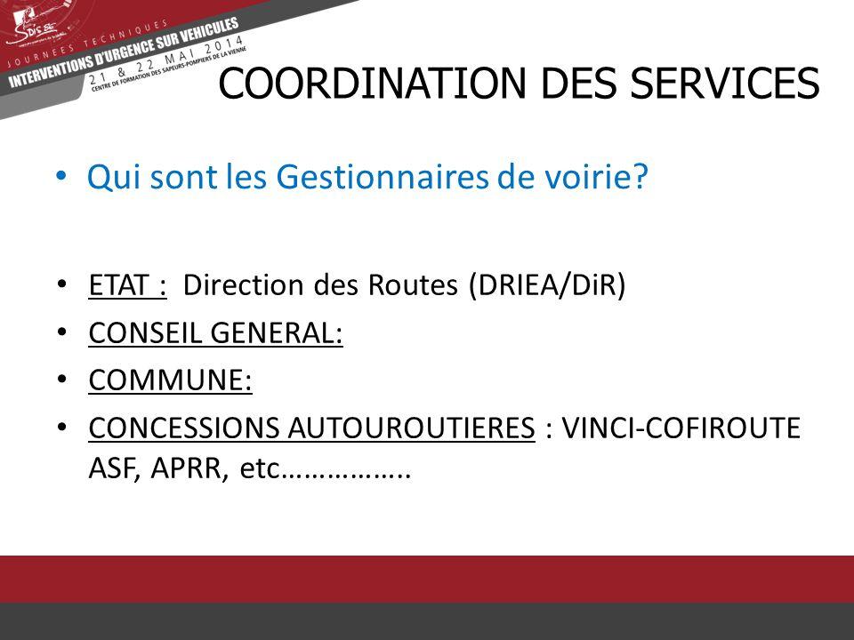 Qui sont les Gestionnaires de voirie? CCOORDINATION DES SERVICES ETAT : Direction des Routes (DRIEA/DiR) CONSEIL GENERAL: COMMUNE: CONCESSIONS AUTOURO