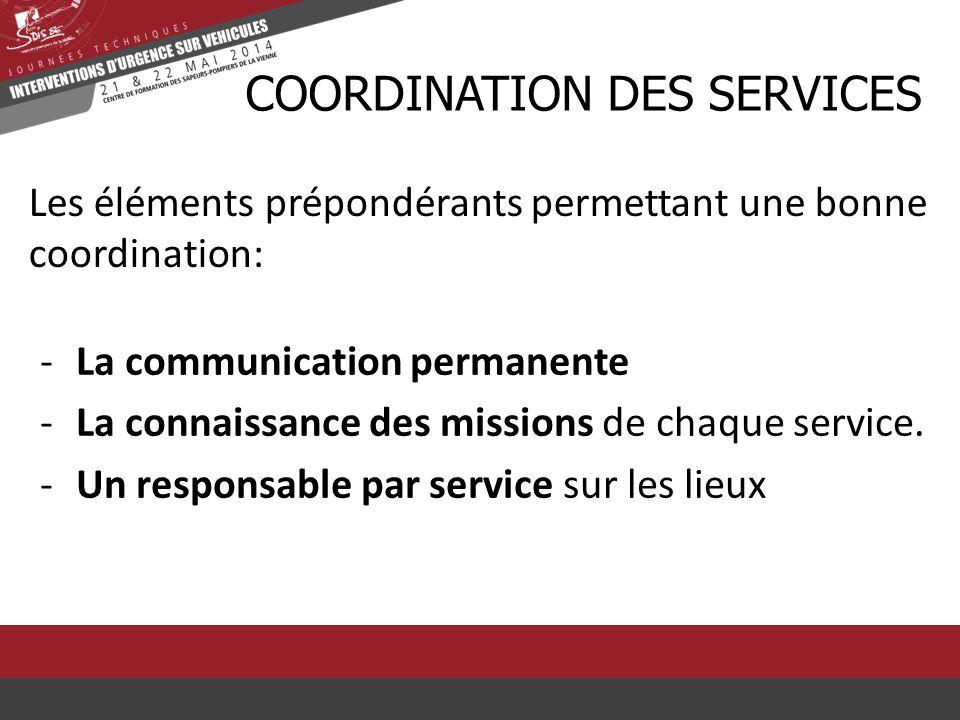 Les éléments prépondérants permettant une bonne coordination: CCOORDINATION DES SERVICES -La communication permanente -La connaissance des missions de