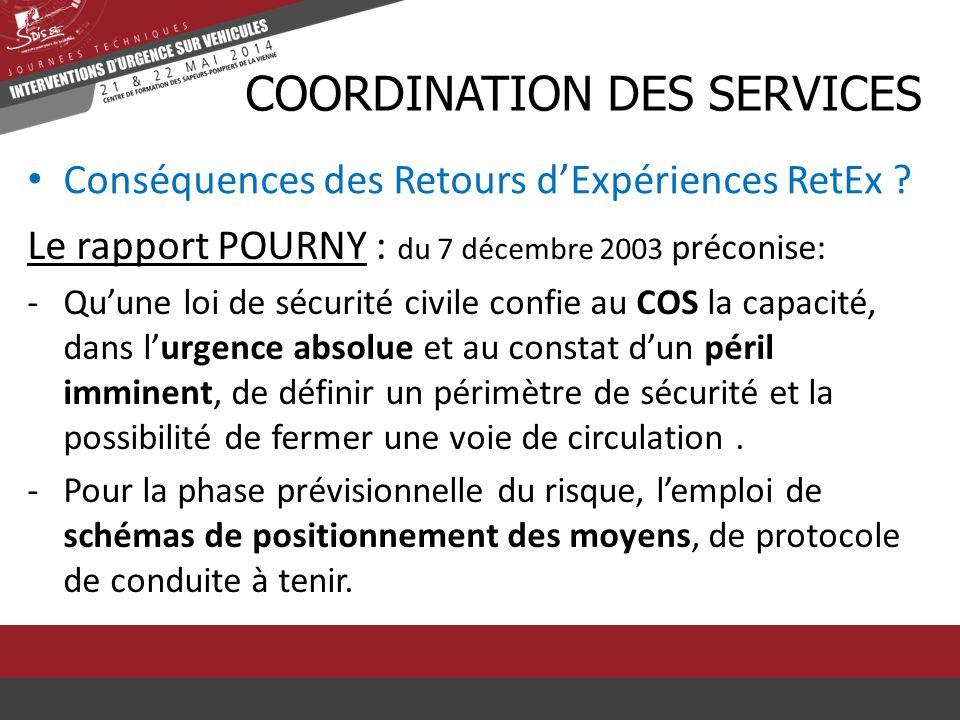 Conséquences des Retours d'Expériences RetEx ? CCOORDINATION DES SERVICES Le rapport POURNY : du 7 décembre 2003 préconise: -Qu'une loi de sécurité ci