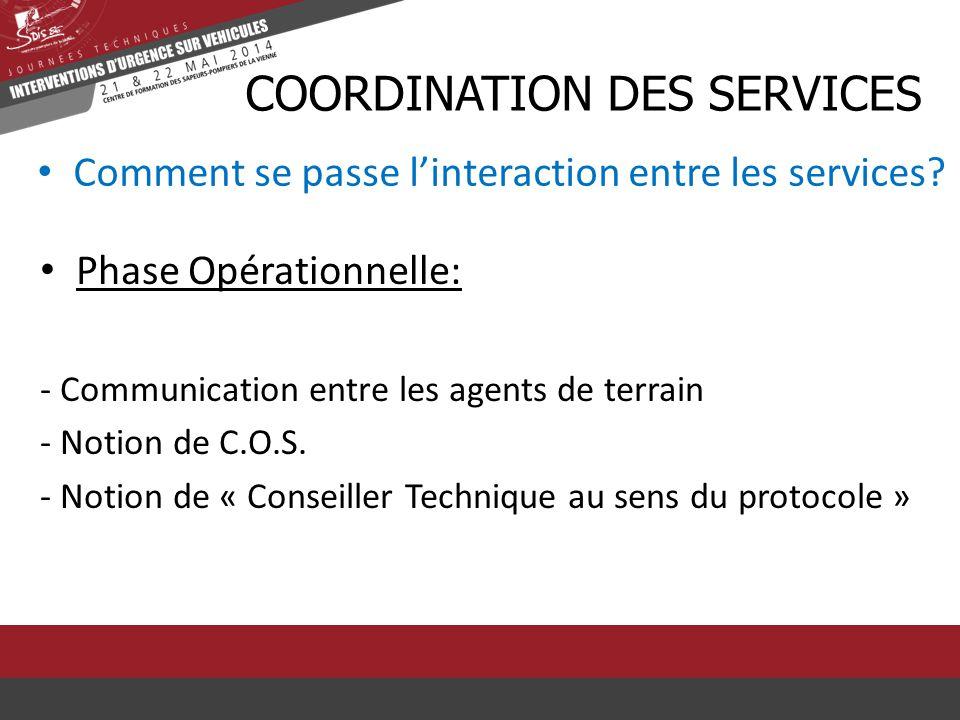 Comment se passe l'interaction entre les services? CCOORDINATION DES SERVICES Phase Opérationnelle: - Communication entre les agents de terrain - Noti