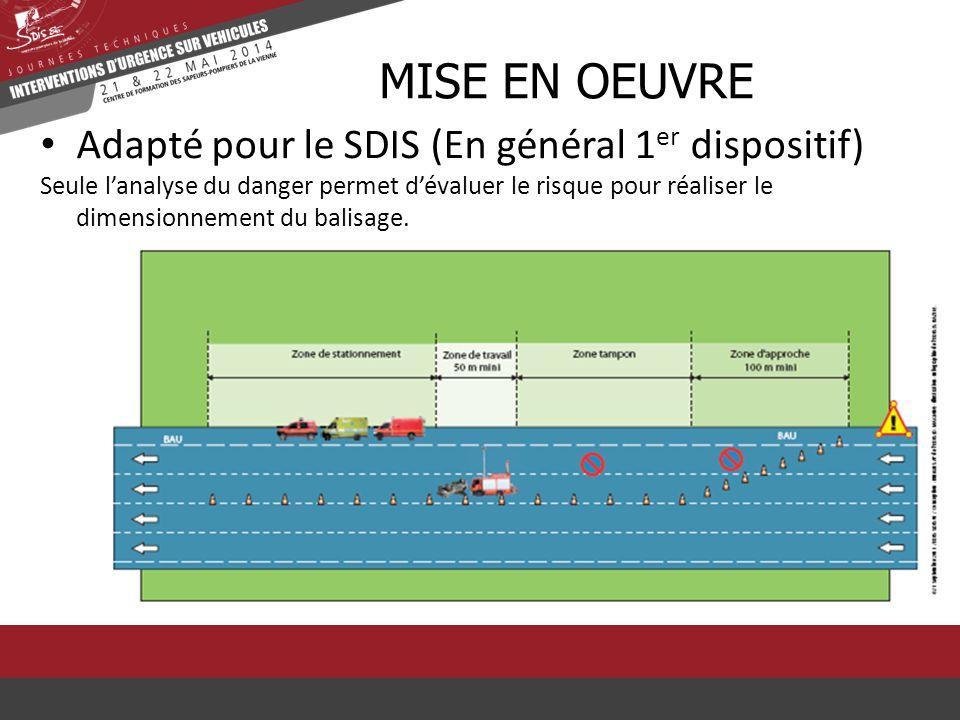 Adapté pour le SDIS (En général 1 er dispositif) Seule l'analyse du danger permet d'évaluer le risque pour réaliser le dimensionnement du balisage. MI
