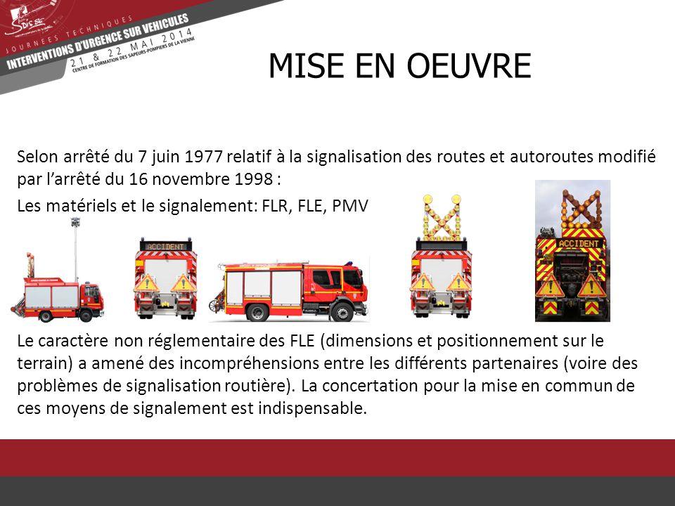 Selon arrêté du 7 juin 1977 relatif à la signalisation des routes et autoroutes modifié par l'arrêté du 16 novembre 1998 : Les matériels et le signale