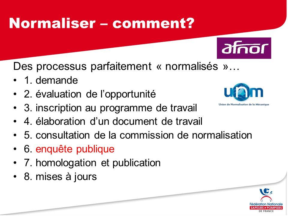 Normaliser – comment? Des processus parfaitement « normalisés »… 1. demande 2. évaluation de l'opportunité 3. inscription au programme de travail 4. é