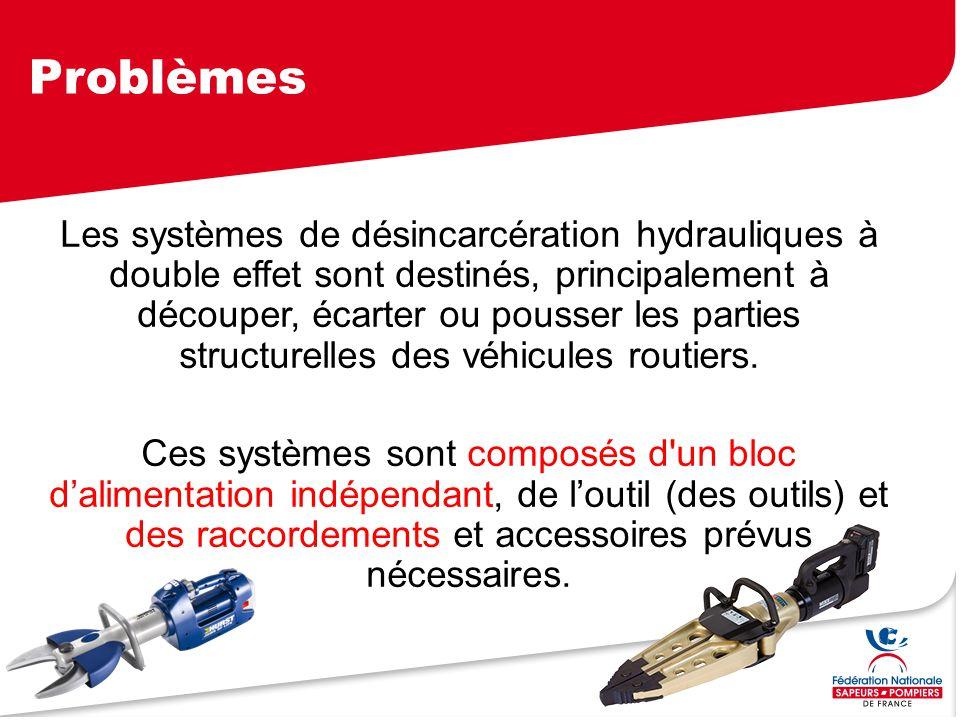 Problèmes Les systèmes de désincarcération hydrauliques à double effet sont destinés, principalement à découper, écarter ou pousser les parties struct