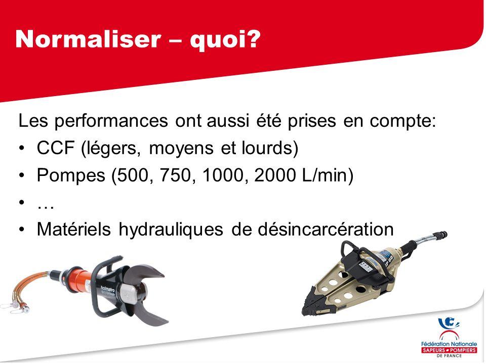 Normaliser – quoi? Les performances ont aussi été prises en compte: CCF (légers, moyens et lourds) Pompes (500, 750, 1000, 2000 L/min) … Matériels hyd