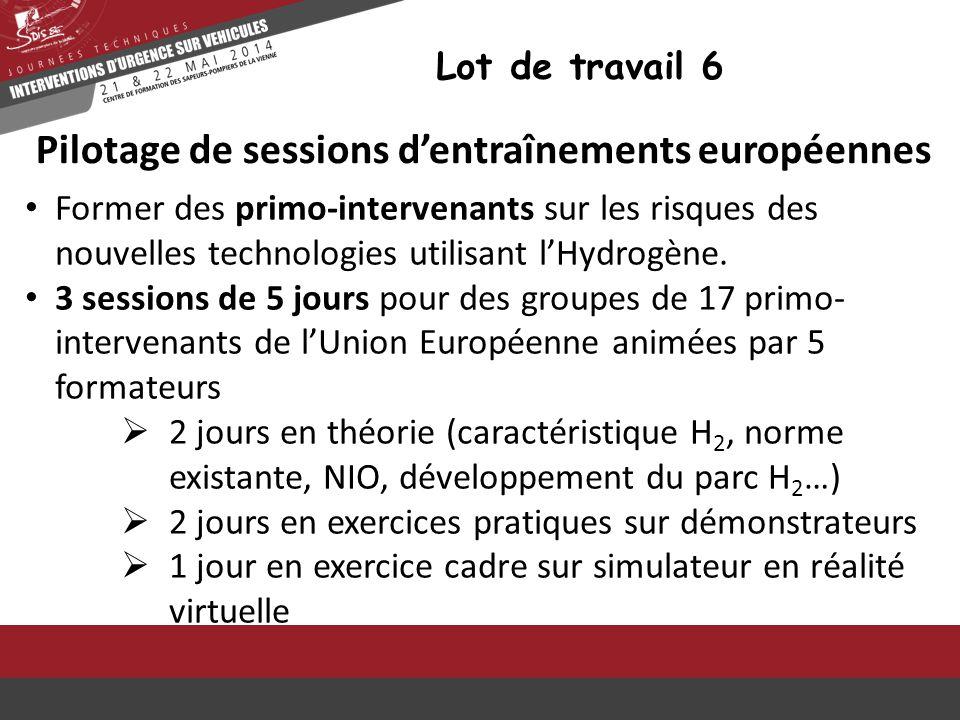 Lot de travail 6 Pilotage de sessions d'entraînements européennes Former des primo-intervenants sur les risques des nouvelles technologies utilisant l