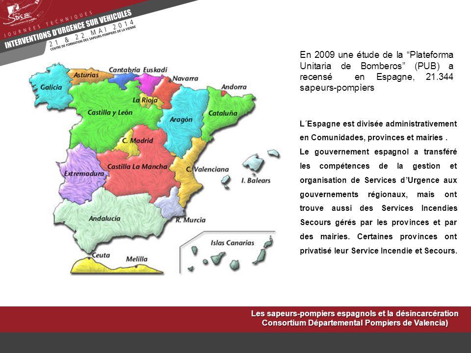 """En 2009 une étude de la """"Plateforma Unitaria de Bomberos"""" (PUB) a recensé en Espagne, 21.344 sapeurs-pompìers L´Espagne est divisée administrativement"""