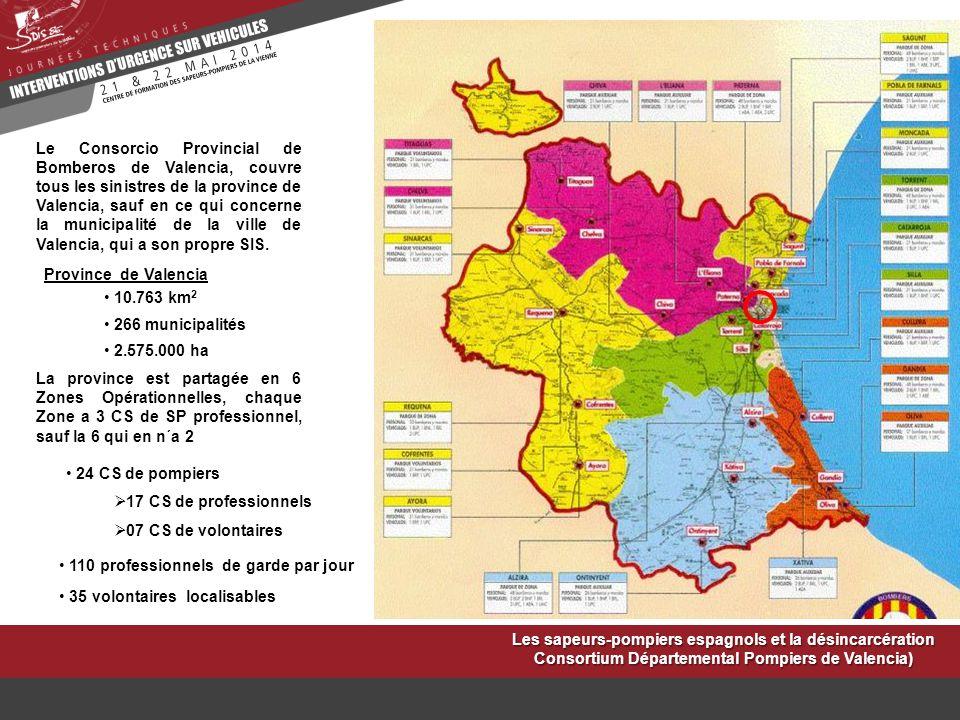 Le Consorcio Provincial de Bomberos de Valencia, couvre tous les sinistres de la province de Valencia, sauf en ce qui concerne la municipalité de la v
