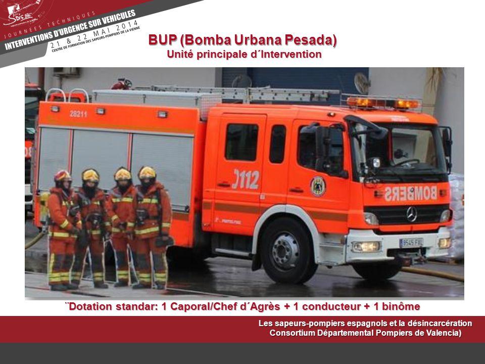 BUP (Bomba Urbana Pesada) Unité principale d´Intervention ¨Dotation standar: 1 Caporal/Chef d´Agrès + 1 conducteur + 1 binôme Les sapeurs-pompiers esp
