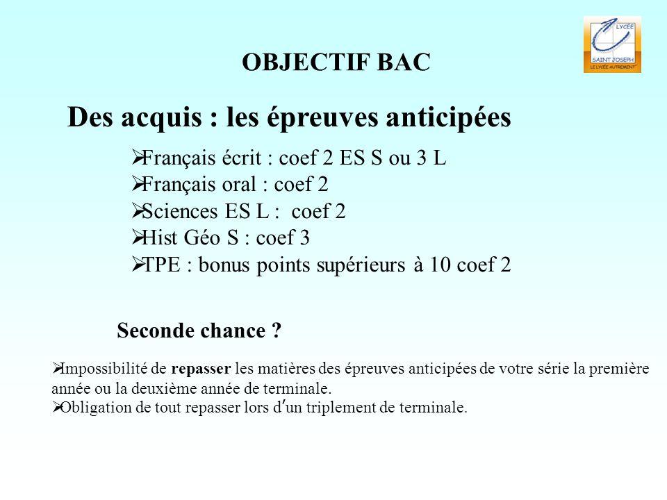 OBJECTIF BAC Des acquis : les épreuves anticipées  Français écrit : coef 2 ES S ou 3 L  Français oral : coef 2  Sciences ES L : coef 2  Hist Géo S : coef 3  TPE : bonus points supérieurs à 10 coef 2 Seconde chance .