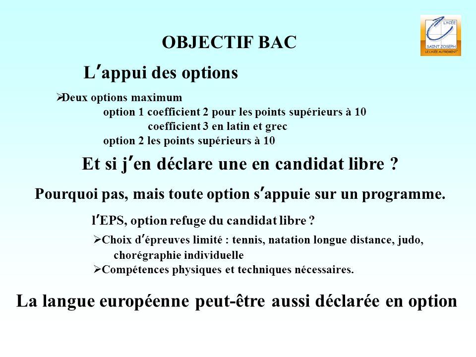 OBJECTIF BAC L'appui des options  Deux options maximum option 1 coefficient 2 pour les points supérieurs à 10 coefficient 3 en latin et grec option 2 les points supérieurs à 10 Et si j'en déclare une en candidat libre .