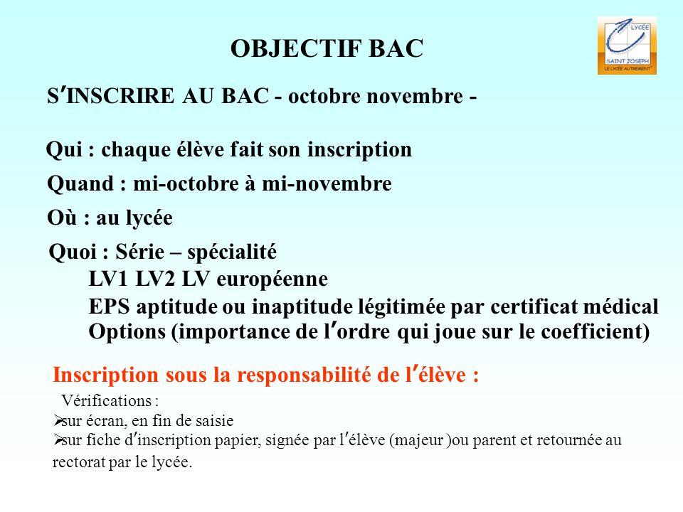 OBJECTIF BAC S'INSCRIRE AU BAC - octobre novembre - Quoi : Série – spécialité LV1 LV2 LV européenne EPS aptitude ou inaptitude légitimée par certifica