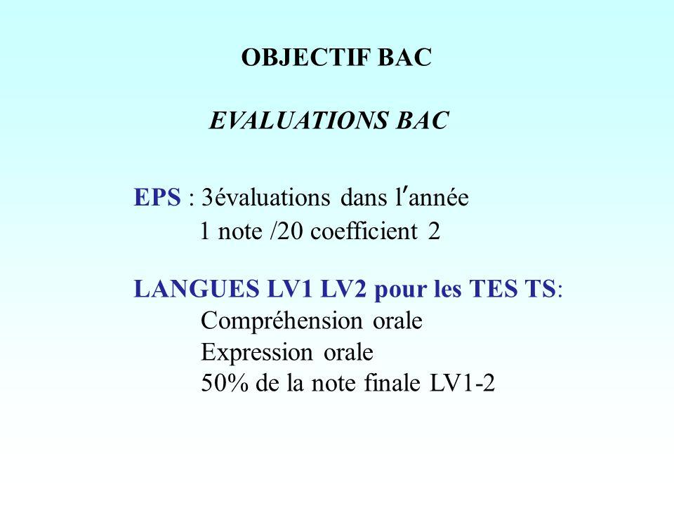 OBJECTIF BAC EVALUATIONS BAC EPS : 3évaluations dans l'année 1 note /20 coefficient 2 LANGUES LV1 LV2 pour les TES TS: Compréhension orale Expression orale 50% de la note finale LV1-2