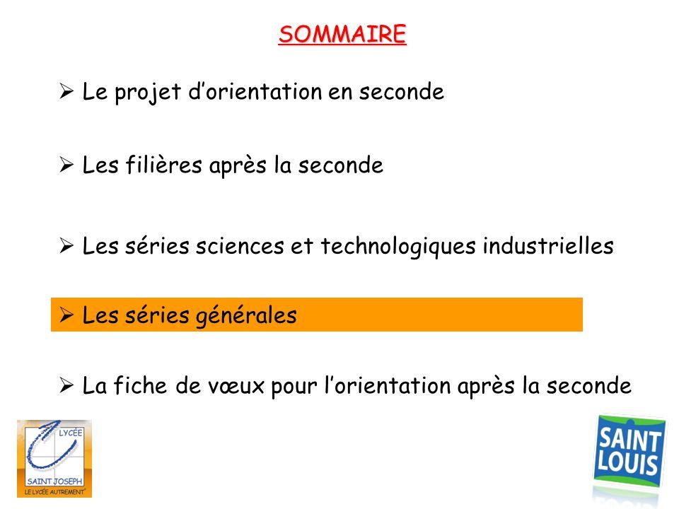 SOMMAIRE  Les filières après la seconde  Les séries sciences et technologiques industrielles  Le projet d'orientation en seconde  La fiche de vœux