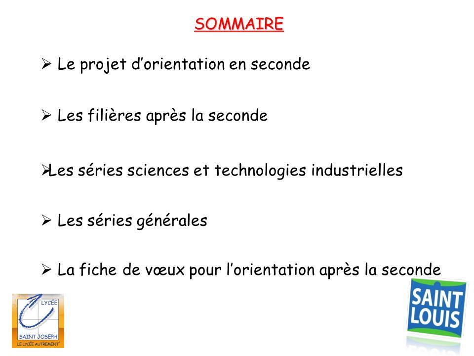 SOMMAIRE  Les filières après la seconde  Les séries sciences et technologies industrielles  Le projet d'orientation en seconde  La fiche de vœux p