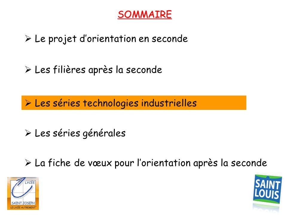 SOMMAIRE  Les filières après la seconde  Les séries technologies industrielles  Le projet d'orientation en seconde  La fiche de vœux pour l'orient