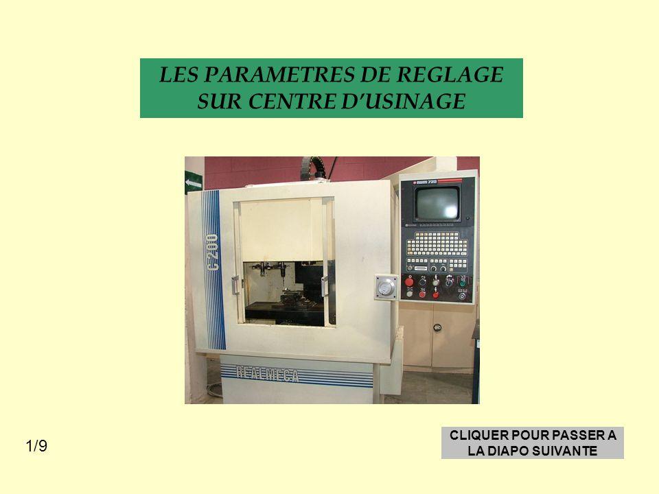 LES PARAMETRES DE REGLAGE SUR CENTRE D'USINAGE CLIQUER POUR PASSER A LA DIAPO SUIVANTE 1/9