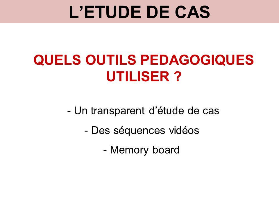 L'ETUDE DE CAS QUELS OUTILS PEDAGOGIQUES UTILISER ? - Un transparent d'étude de cas - Des séquences vidéos - Memory board
