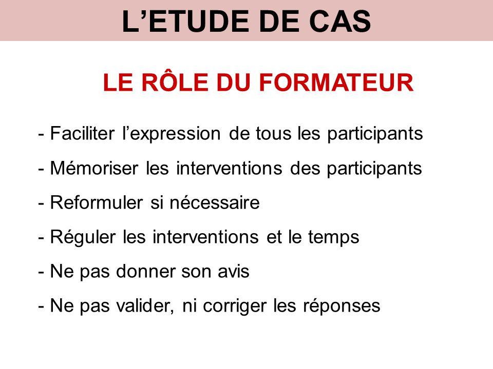 L'ETUDE DE CAS LE RÔLE DU FORMATEUR - Faciliter l'expression de tous les participants - Mémoriser les interventions des participants - Reformuler si n