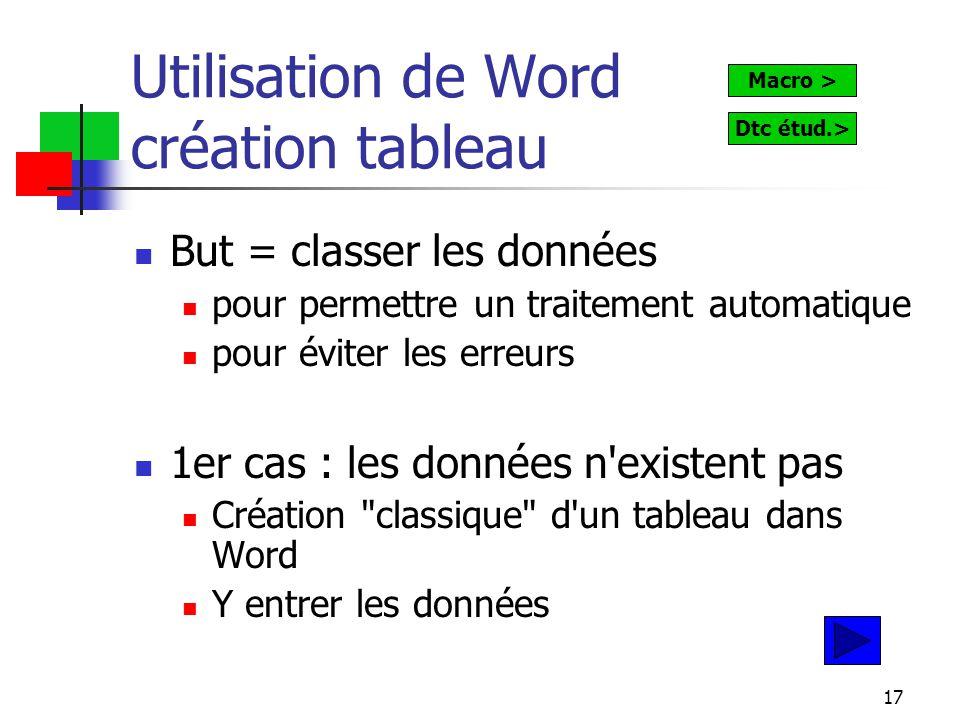 17 Utilisation de Word création tableau But = classer les données pour permettre un traitement automatique pour éviter les erreurs 1er cas : les données n existent pas Création classique d un tableau dans Word Y entrer les données Macro > Dtc étud.>