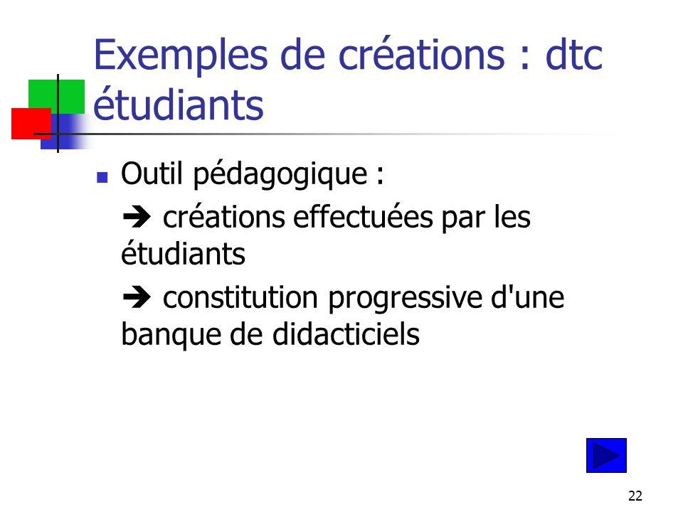 22 Exemples de créations : dtc étudiants Outil pédagogique :  créations effectuées par les étudiants  constitution progressive d une banque de didacticiels