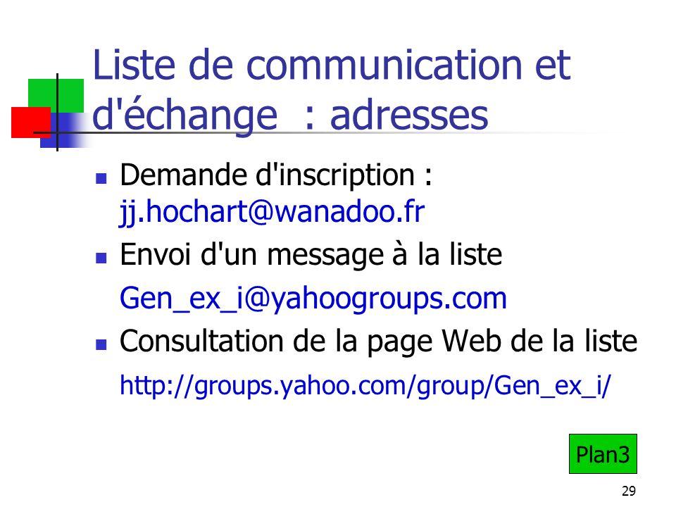 29 Liste de communication et d échange : adresses Demande d inscription : jj.hochart@wanadoo.fr Envoi d un message à la liste Gen_ex_i@yahoogroups.com Consultation de la page Web de la liste http://groups.yahoo.com/group/Gen_ex_i/ Plan3
