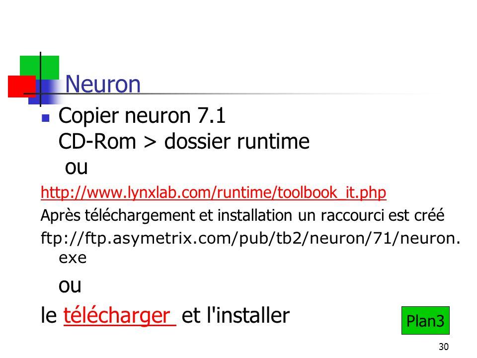 30 Neuron Copier neuron 7.1 CD-Rom > dossier runtime ou http://www.lynxlab.com/runtime/toolbook_it.php Après téléchargement et installation un raccourci est créé ftp://ftp.asymetrix.com/pub/tb2/neuron/71/neuron.