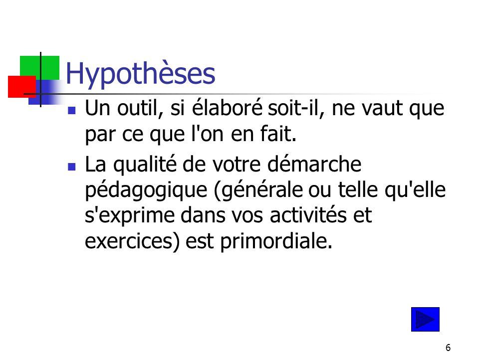 6 Hypothèses Un outil, si élaboré soit-il, ne vaut que par ce que l on en fait.