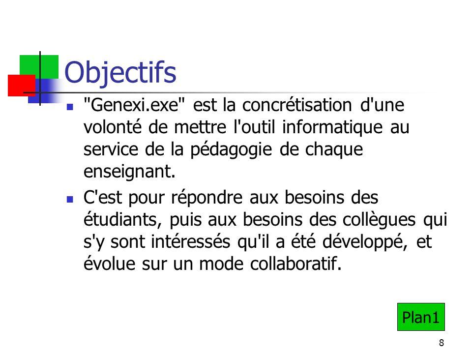 8 Objectifs Genexi.exe est la concrétisation d une volonté de mettre l outil informatique au service de la pédagogie de chaque enseignant.
