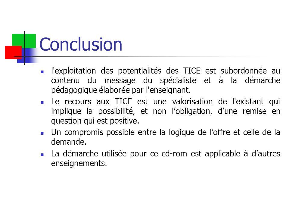 Conclusion l exploitation des potentialités des TICE est subordonnée au contenu du message du spécialiste et à la démarche pédagogique élaborée par l enseignant.