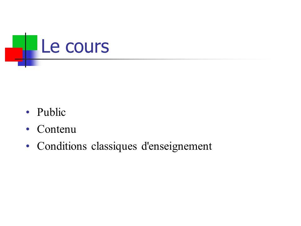 Le cours Public Contenu Conditions classiques d enseignement