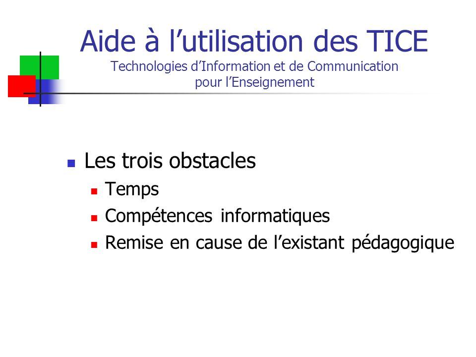 Aide à l'utilisation des TICE Technologies d'Information et de Communication pour l'Enseignement Les trois obstacles Temps Compétences informatiques Remise en cause de l'existant pédagogique
