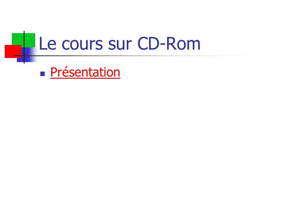 Le cours sur CD-Rom Présentation